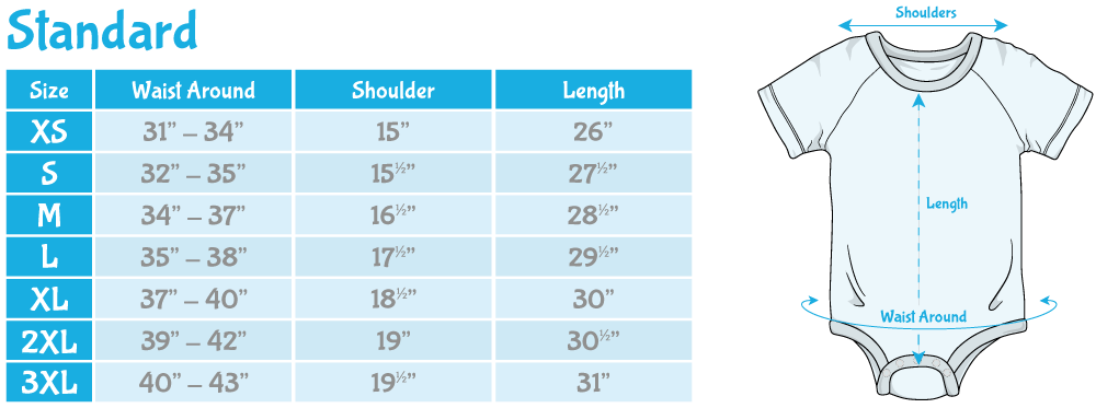 ABU DiaperSuit Standard Sizing Chart